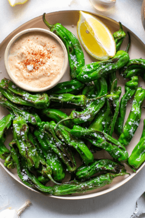 Sustainable and Plant-based Lifestyle influencer shares her delicious spanish Perfect Blistered Shishito Peppers tapa recipe!