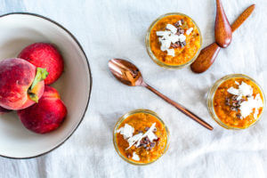 Sustainable and Plant-based Lifestyle influencer shares her delicious overnight oats peach recipe